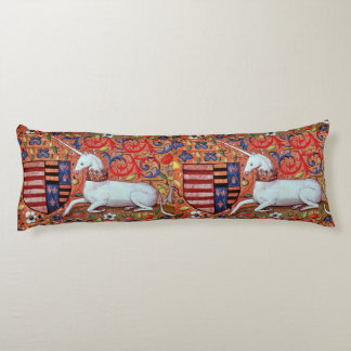 UNICORN AND MEDIEVAL FANTASY FLOWERS,FLORAL MOTIFS BODY PILLOW