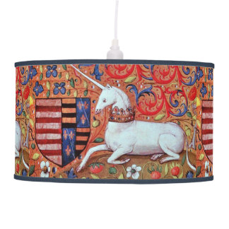 UNICORN AND MEDIEVAL FANTASY FLOWERS,FLORAL MOTIFS HANGING LAMP