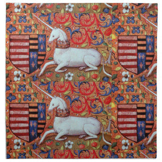 UNICORN AND MEDIEVAL FANTASY FLOWERS,FLORAL MOTIFS NAPKINS