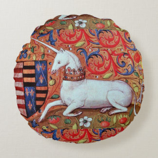UNICORN AND MEDIEVAL FANTASY FLOWERS,FLORAL MOTIFS ROUND PILLOW