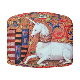 UNICORN AND MEDIEVAL FANTASY FLOWERS,FLORAL MOTIFS ROUND POUF