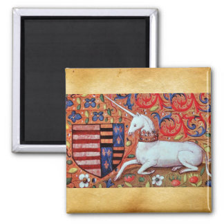UNICORN AND MEDIEVAL FANTASY FLOWERS,FLORAL MOTIFS SQUARE MAGNET
