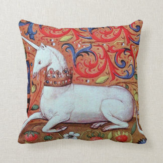 UNICORN AND MEDIEVAL FANTASY FLOWERS,FLORAL MOTIFS THROW PILLOW