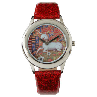 UNICORN AND MEDIEVAL FANTASY FLOWERS,FLORAL MOTIFS WATCHES
