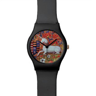 UNICORN AND MEDIEVAL FANTASY FLOWERS,FLORAL MOTIFS WRIST WATCHES