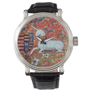 UNICORN AND MEDIEVAL FANTASY FLOWERS,FLORAL MOTIFS WRISTWATCH