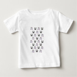 Unicorn and Panda Emojis in Glitter Baby T-Shirt