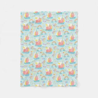 Unicorn and Rainbow Pattern Fleece Blanket