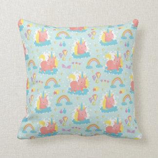 Unicorn and Rainbow Pattern Throw Pillow