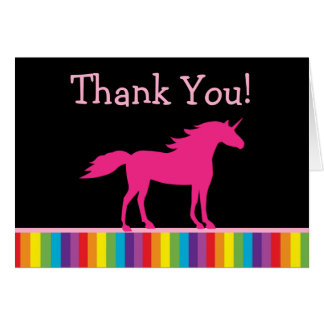 Unicorn and Rainbow Thank You Cards