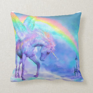 Unicorn and rainbow throw pillow