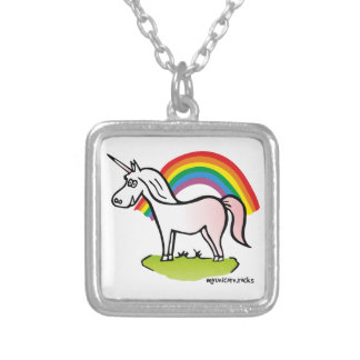 Unicorn and Rainbow - unicorn and rainbow Silver Plated Necklace