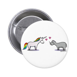 Unicorn and rhinoceros fall in love 2 inch round button