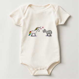 Unicorn and rhinoceros fall in love baby bodysuit