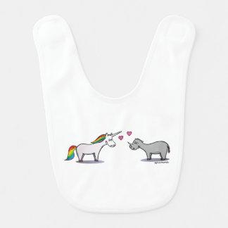 Unicorn and rhinoceros fall in love bib