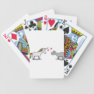 Unicorn and rhinoceros fall in love bicycle playing cards