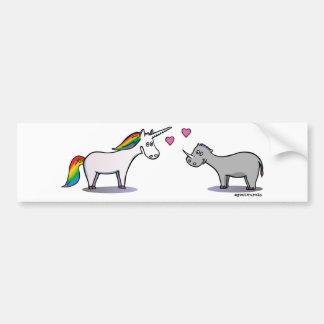 Unicorn and rhinoceros fall in love bumper sticker