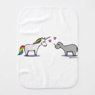 Unicorn and rhinoceros fall in love burp cloth