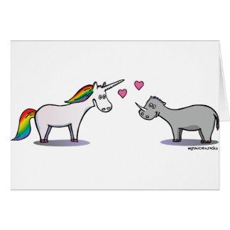 Unicorn and rhinoceros fall in love card