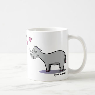 Unicorn and rhinoceros fall in love coffee mug