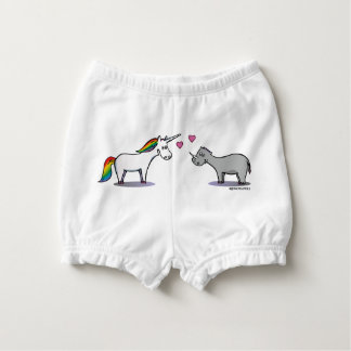 Unicorn and rhinoceros fall in love diaper cover