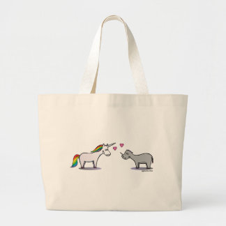 Unicorn and rhinoceros fall in love large tote bag