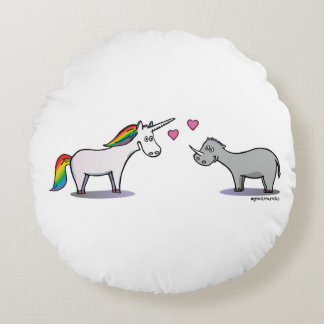 Unicorn and rhinoceros fall in love round pillow