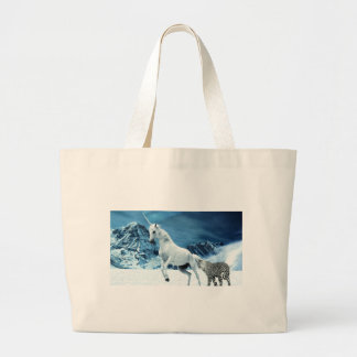 Unicorn and Snow Leopard Mythical Enchanted Large Tote Bag