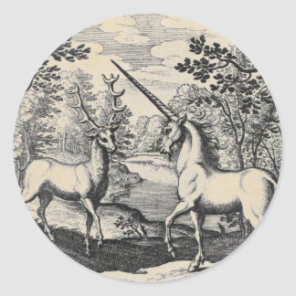 Unicorn and Stag Classic Round Sticker