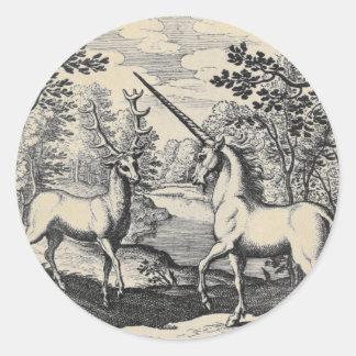Unicorn and Stag Classic Round Sticker