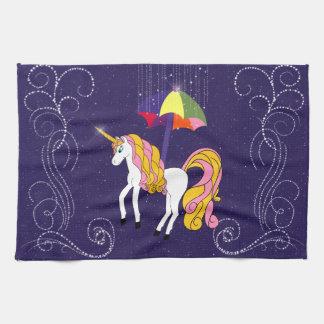 Unicorn and Umbrella Whimsical Cartoon Art Hand Towel