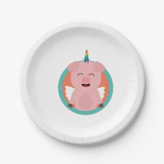 Unicorn Angel Pig in circle Zbibi 7 Inch Paper Plate