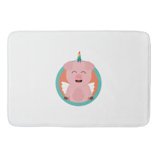 Unicorn Angel Pig in circle Zbibi Bath Mat