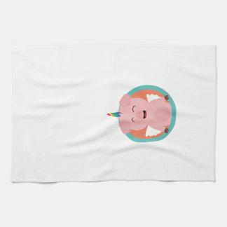 Unicorn Angel Pig in circle Zbibi Hand Towel