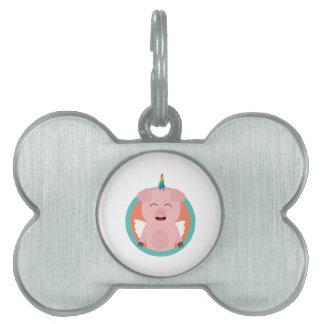 Unicorn Angel Pig in circle Zbibi Pet Tag