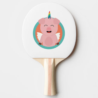Unicorn Angel Pig in circle Zbibi Ping Pong Paddle