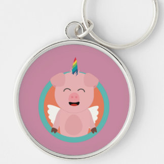 Unicorn Angel Pig in circle Zbibi Silver-Colored Round Keychain