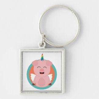 Unicorn Angel Pig in circle Zbibi Silver-Colored Square Keychain