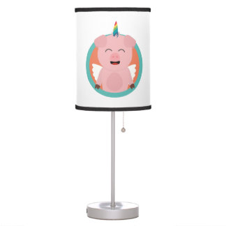 Unicorn Angel Pig in circle Zbibi Table Lamp