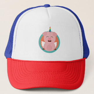 Unicorn Angel Pig in circle Zbibi Trucker Hat
