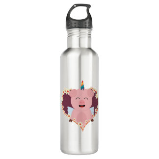 Unicorn angel pig in flower heart Zzvrv 710 Ml Water Bottle