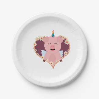 Unicorn angel pig in flower heart Zzvrv 7 Inch Paper Plate