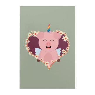 Unicorn angel pig in flower heart Zzvrv Acrylic Print