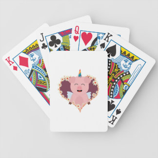Unicorn angel pig in flower heart Zzvrv Bicycle Playing Cards