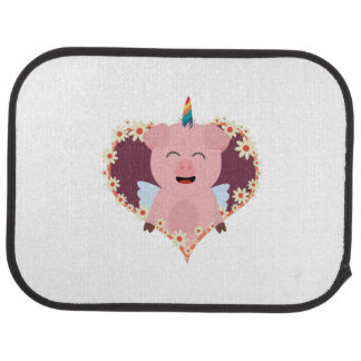 Unicorn angel pig in flower heart Zzvrv Car Mat
