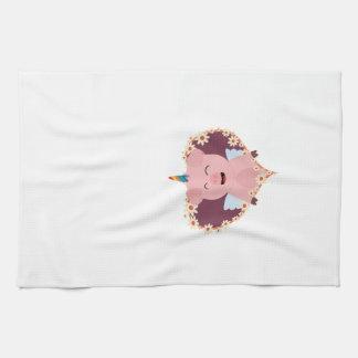 Unicorn angel pig in flower heart Zzvrv Hand Towel