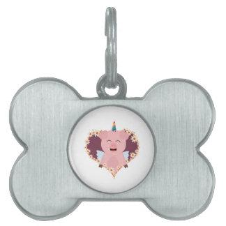 Unicorn angel pig in flower heart Zzvrv Pet Name Tag