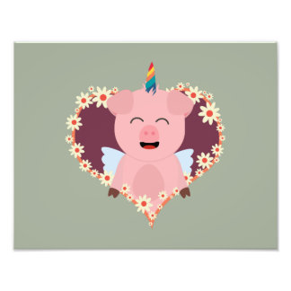 Unicorn angel pig in flower heart Zzvrv Photo Print