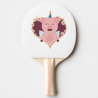 Unicorn angel pig in flower heart Zzvrv Ping Pong Paddle