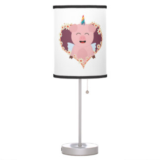 Unicorn angel pig in flower heart Zzvrv Table Lamp